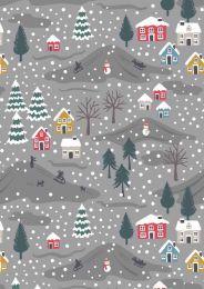 Snow Day Fabric | Snow Day Scene Grey