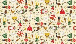 Twelve Days of Christmas Fabric   Classic Characters