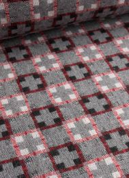 Wool Blend Fabric | Cross Weave Grey & Red