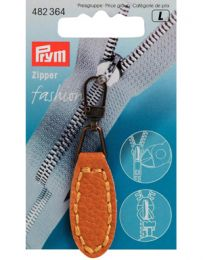 Zip Puller | Imt. Leather Oval Tab - Mustard