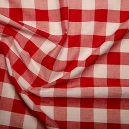 Red Gingham Fabric 1 Inch Check - Empress Mills