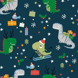 Christmas Jersey Fabric | Festisarus Navy