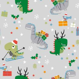 Christmas Jersey Fabric | Festisarus Light Grey