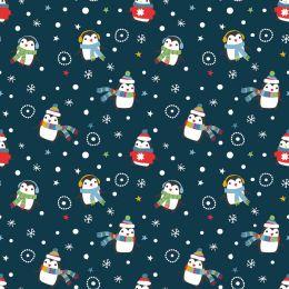 Christmas Jersey Fabric | Festive Penguin Navy