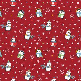 Christmas Jersey Fabric | Festive Penguin Xmas Red