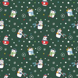 Christmas Jersey Fabric   Festive Penguin Dark Green