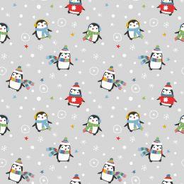 Christmas Jersey Fabric | Festive Penguin Light Grey