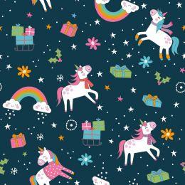 Christmas Jersey Fabric | Festive Unicorn Navy