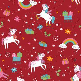 Christmas Jersey Fabric | Festive Unicorn Xmas Red