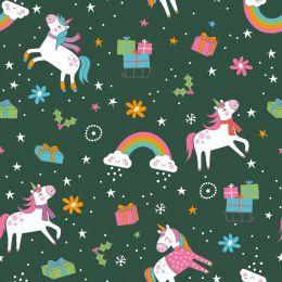 Christmas Jersey Fabric | Festive Unicorn Dark Green