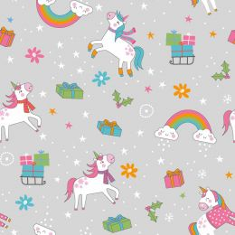 Christmas Jersey Fabric | Festive Unicorn Light Grey