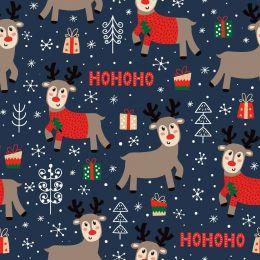 Christmas Jersey Fabric   Ho Ho Ho Reindeer Navy