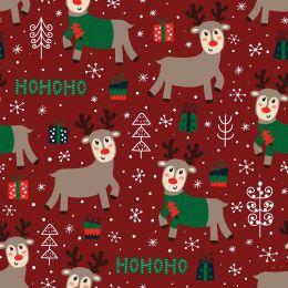 Christmas Jersey Fabric | Ho Ho Ho Reindeer Xmas Red