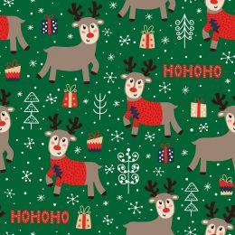 Christmas Jersey Fabric | Ho Ho Ho Reindeer Dark Green