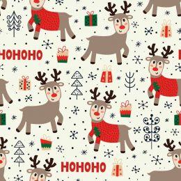 Christmas Jersey Fabric | Ho Ho Ho Reindeer Off White