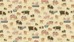 Village Life Fabric | Pigs
