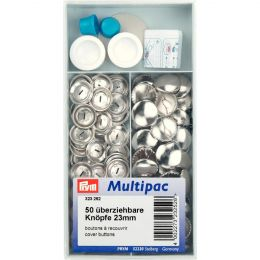 Cover Buttons Multipack with Tool | 23mm Silver - Metal | Prym