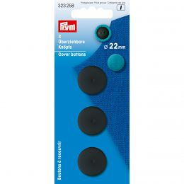 Cover Buttons | 22mm Black - Plastic | Prym