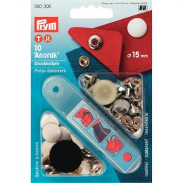 15mm Cap Lacquered Whiite | Anorak Press Fasteners & Tool | Prym