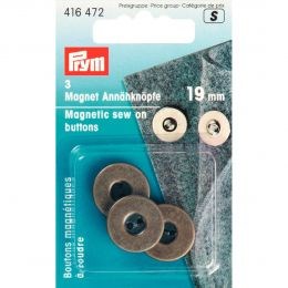 Magnetic Sew On Buttons, 19mm Antique Brass | Prym