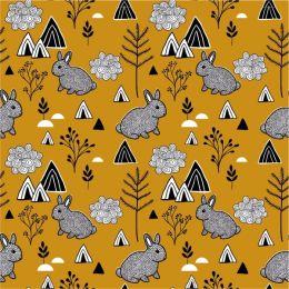 Jersey Cotton Fabric | Rabbits Ochre