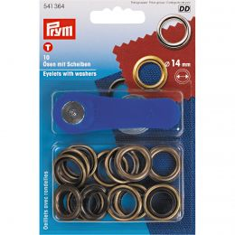 Eyelets With Washer & Tool   14mm Antique Brass