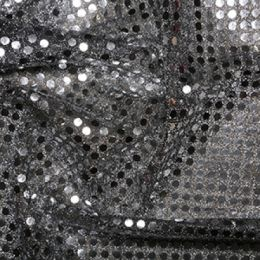 6mm Sequin Fabric   Silver Black Background