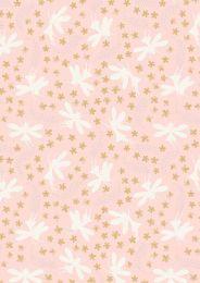 Fairy Clocks Fabric | Floral Fairies Light Pink - Silver Metallic