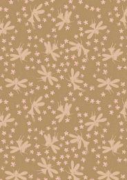 Fairy Clocks Fabric | Floral Fairies Deep Gold - Gold Metallic