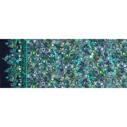 Effervescence Fabric   Full Width Border Multi Dot Ocean