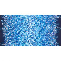 Effervescence Fabric   Double Border Circles & Dots Water
