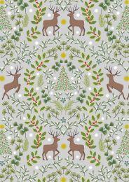 Noel Metallic Christmas Fabric | Reindeer Grey