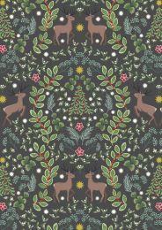 Noel Metallic Christmas Fabric | Reindeer Dark Grey