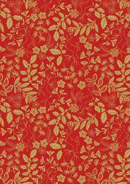 Noel Metallic Christmas Fabric | Holly Red