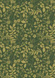 Noel Metallic Christmas Fabric   Holly Green