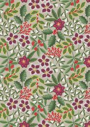 Noel Metallic Christmas Fabric | Floral Linnen