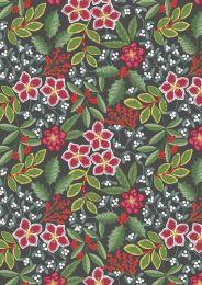 Noel Metallic Christmas Fabric | Floral Dark Grey