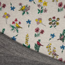 Luxury Sweatshirt Fabric   Floral Bird