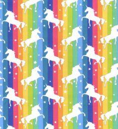 Cotton Print Fabric | Rainbow Unicorn Bright
