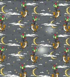Cotton Print Fabric   Floating Fox Grey