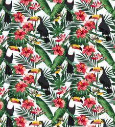 Cotton Print Fabric | Toucan White