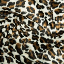 Animal Print Velboa Fabric Faux Fur   Snow Leopard