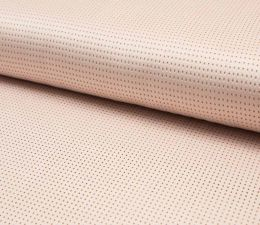 Suede Laser Punched Fabric | Pale Salmon
