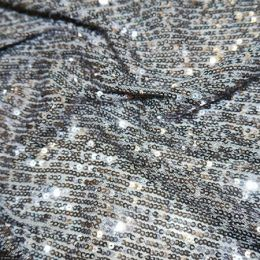Knitted Sequin Fabric Stripes | Silver
