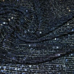 Knitted Sequin Fabric Stripes   Navy