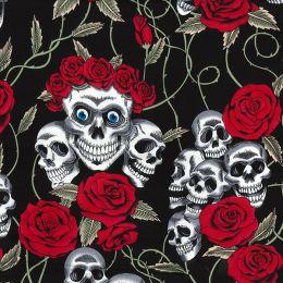 Cotton Print Fabric | Skulls & Roses
