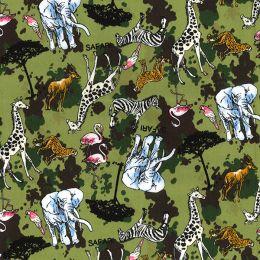 Cotton Print Fabric   Safari Green