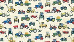 Village Life Fabric | Tractors Cream
