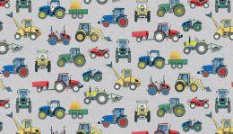 Village Life Fabric | Tractors Grey