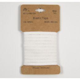 Classic Flat Elastic, 5mm White - 3m